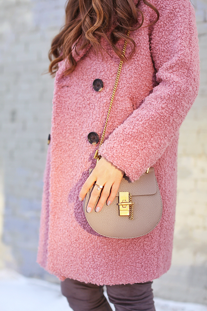 Blush Crush | How to Style Millennial Pink & Blush Hues | Best Chloe Drew Bag Dupes for Under $50 | Winter / Spring 2018 | Topshop Alicia Boucle Wool Blend Coat Pink // JustineCelina.com