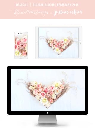 DIGITAL BLOOMS FEBRUARY 2018 | Free Blush Heart Floral Desktop Wallpapers for Valentine's Day | Design 1 // JustineCelina.com x Rebecca Dawn Design