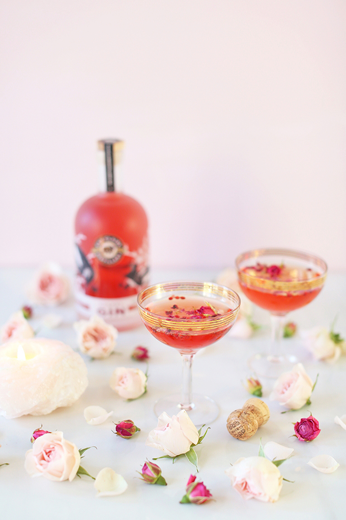 Rose Infused Cherry Gin Fizz | Featuring Eau Claire Distillery Artisanal Cherry Gin + The Silk Road Spice Merchant Rose Petals and Pink Peppercorns + Lamarca Prosecco | Calgary, Alberta Lifestyle + Food Blogger // JustineCelina.com