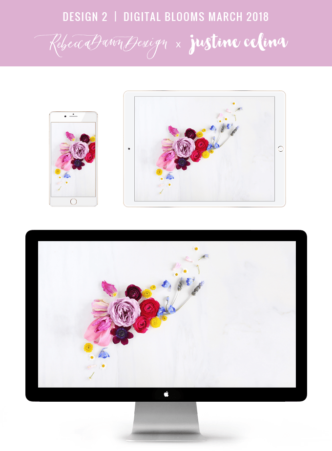 Digital Blooms March 2018 | Free Pantone Inspired Desktop Wallpapers for Spring | Design 2 // JustineCelina.com x Rebecca Dawn Design