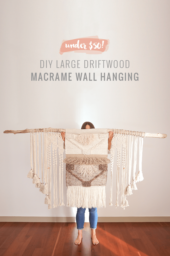 DIY | Large Driftwood Macrame Wall Hanging | How to Make a Large Macrame Wall Hanging for Less Than $50! // JustineCelina.com