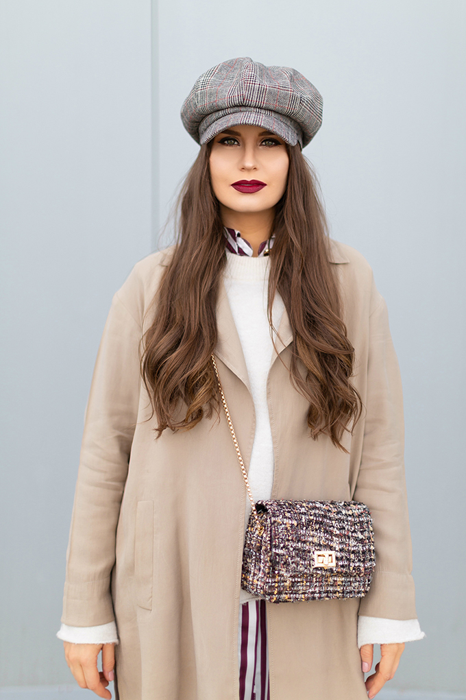 How to Style Transitional Layers | Winter to Spring 2018 Transitional Style Ideas for Cooler Climates | Plaid Baker Boy Hat | Huda Beauty Liquid Matte Lipstick in Famous | Calgary, Alberta Fashion Blogger // JustineCelina.com