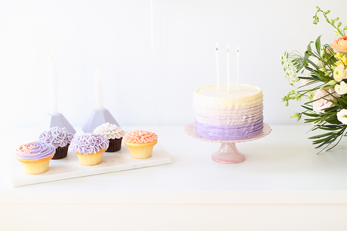 My 3rd Blogiversary + 10 Things I Learned in my Third Year of Blogging | Lavender and Blush Garden Cupcakes & Lavender Ombre Ruffle Cake | A Pantone Spring 2018 Inspired Birthday Celebration // JustineCelina.com