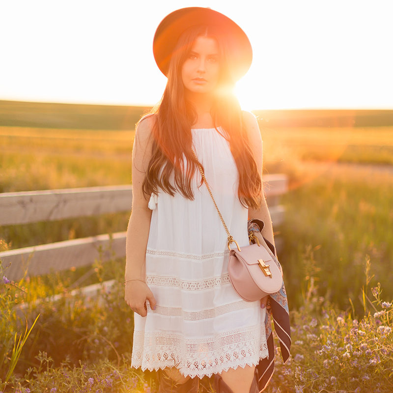 What to Wear to | The Calgary Stampede, Part II | In Partnership with Saks OFF 5TH | Alice + Olivia White Boho Dress | Calgary, Alberta Fashion Blogger // JustineCelina.com