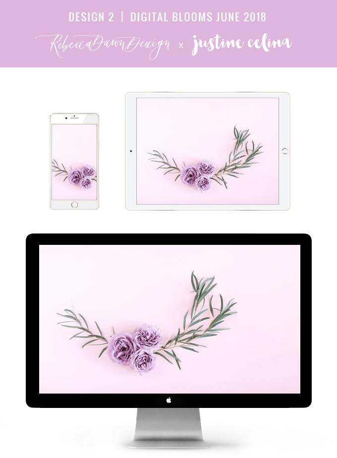 Digital Blooms June 2018 | Free Pantone Inspired Desktop Wallpapers for Spring and Summer | Free Pastel Tech Wallpapers | Design 2 // JustineCelina.com x Rebecca Dawn Design
