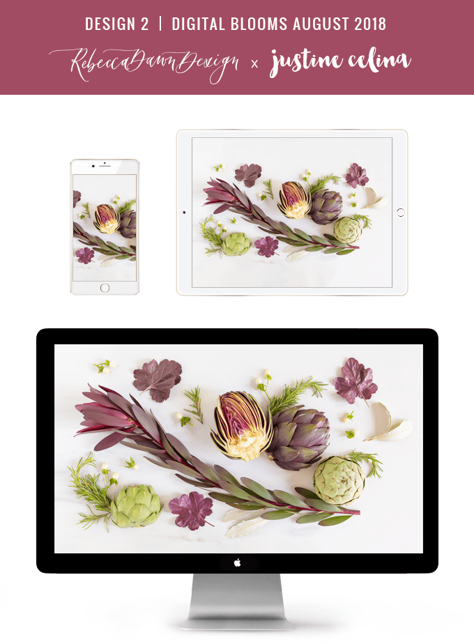 Digital Blooms August 2018 | Free Desktop Wallpapers for Spring and Summer with Artichokes, Rosemary, Berries and Quicksand Roses | Design 2 // JustineCelina.com x Rebecca Dawn Design