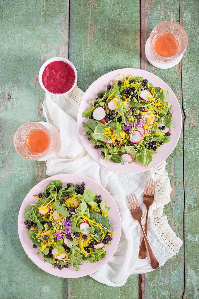 Summer Bounty Salad with Saskatoon Cider Vinaigrette | #Vegan #GlutenFree #FarmtoTable Summer Salad Recipes using locally grown Alberta produce | Calgary Food & Lifestyle Blogger // JustineCelina.com