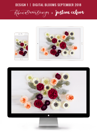 Digital Blooms September 2018   Free Desktop Wallpapers for Fall with Ranunculus, Garden Roses and Anemones   Pantone Fall / Winter 2018 Free Tech Wallpapers   Design 1 // JustineCelina.com x Rebecca Dawn Design