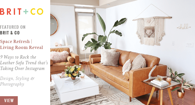 Justine Celina's Living Room Featured on Brit + Co // JustineCelina.com