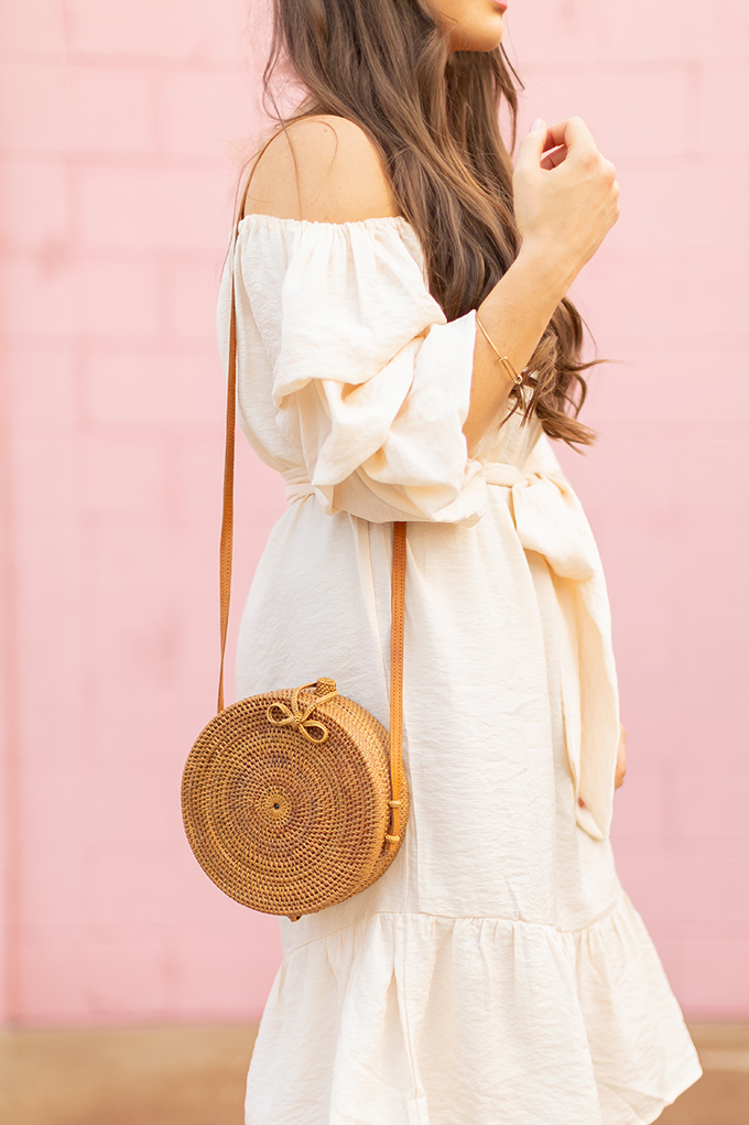 The Accessory Edit   Natural Material Bags  Bali Harvest Round Woven Rattan Bag   How to Style Rattan Bags   The Best Sustainable Rattan Bags 2018 // JustineCelina.com