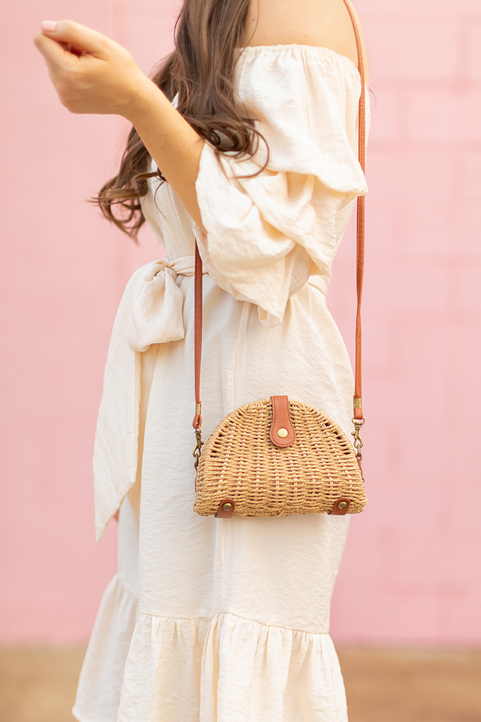 The Accessory Edit   Natural Material Bags   SHEIN Semicircular Straw Crossbody Bag   How to Style StrawBags   The Best Straw Bags 2018 // JustineCelina.com