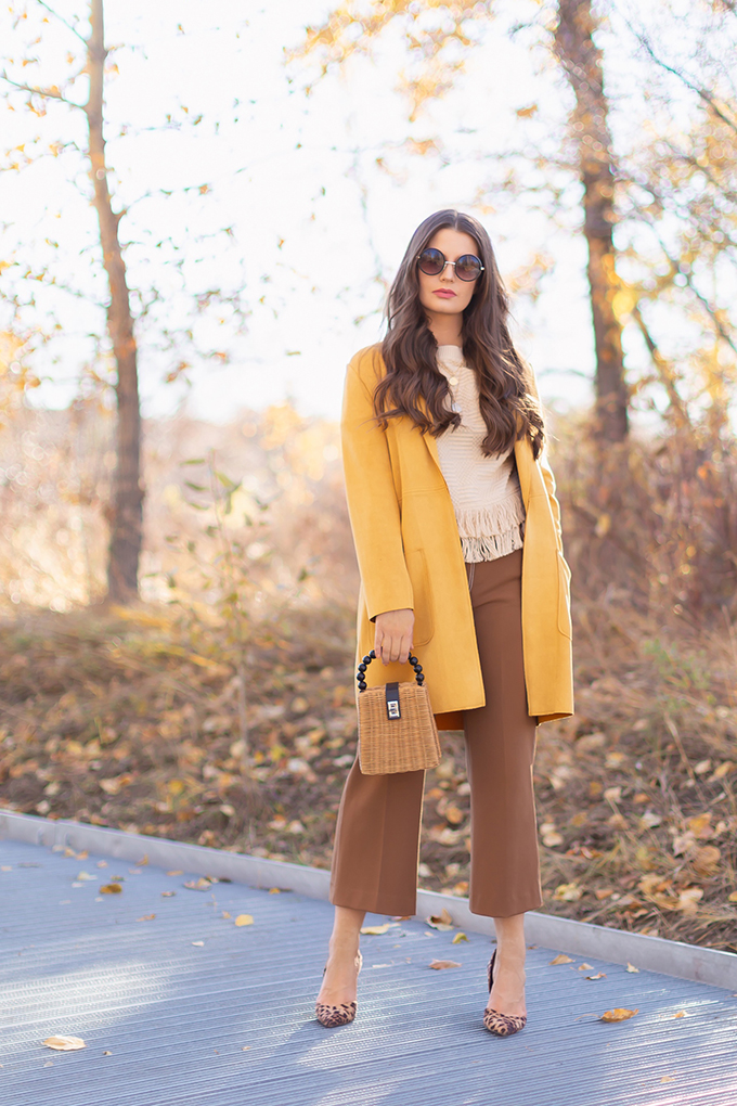Autumn 2018 Lookbook | How to Style Culottes for the Office | Brown 70's Style Culottes with Mustard Jacket, Fringe Top, Woven Bag and Leopard Heels | Autumn 2018 Trends | JustineCelina.com