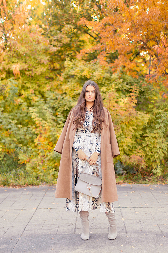 Pattern Play | Snakeskin | Topshop Snake Print Pleated Shirt Dress with Slouchy Boots and Vintage Suede Trenchcoat | Grey Chloe Faye Dupe | Autumn 2018 Trends | The Hottest Prints for Autumn / Winter 2018 and How to Style Them // JustineCelina.com