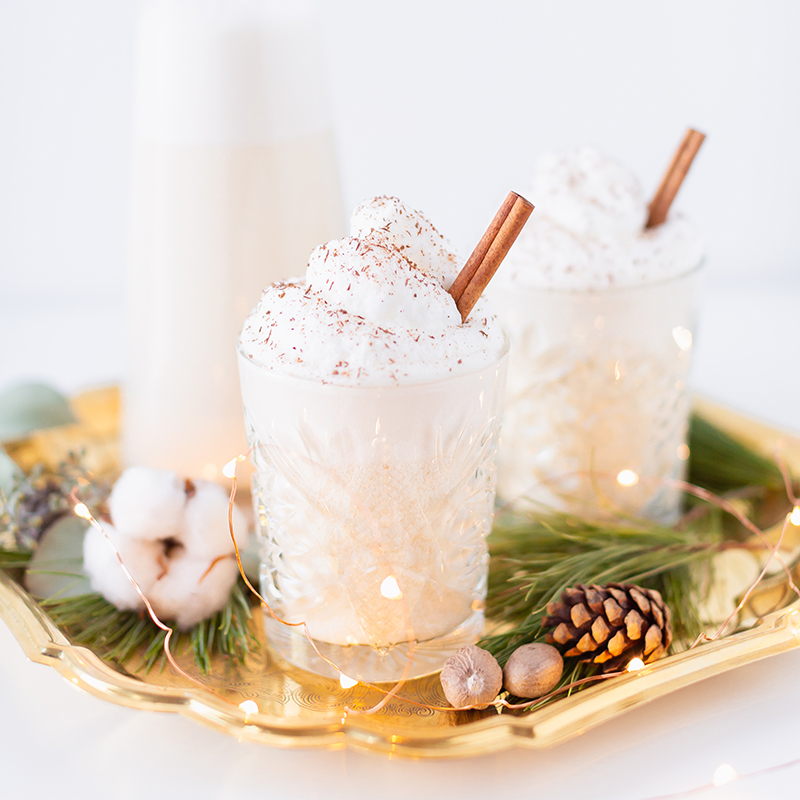 Homemade Dairy Free Coconut Rum Eggnog | The Best Homemade Eggnog Recipe | The Best Rum & Eggnog Recipe | #DairyFree #Vegetarian #GlutenFree #RefinedSugarFree | Healthier Homemade Eggnog Recipe | Clean Homemade Eggnog Recipe // JustineCelina.com