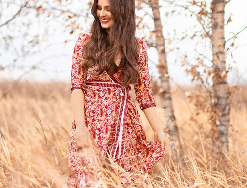 Pattern Play | Paisley | SheIn Paisley Print Wrap Dress | Rust Chloe Pixie Dupe | Autumn / Winter 2018 Trends | The Hottest Prints for Autumn / Winter 2018 and How to Style Them | Alternative Holiday Dress Ideas | Bohemian Holiday Dress Ideas // JustineCelina.com