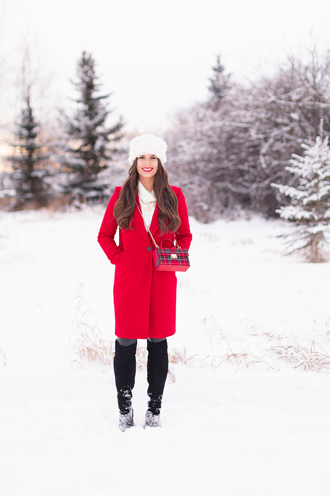 2018 Review + 2019 Goals | Calgary Lifestyle Blogger | Festive, Casual Holiday Outfit with a Red Coat | Brunette Girl Smiling in a Red Coat and a Faux Fur Headband | Lancome Matte Shaker in Red-y in 5 // JustineCelina.com