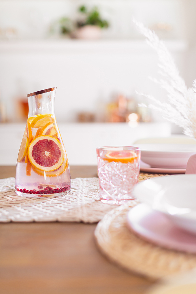January 2019 Soundtrack | Dry January Dinner Party with Infused Citrus Water on a Feminine Tablescape | Calgary Lifestyle Blogger // JustineCelina.com