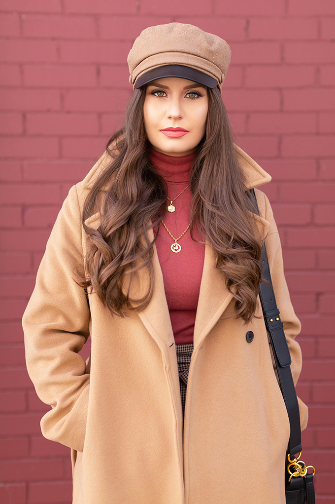 Winter 2019 Lookbook | Cozy Chic: My Go-To Polished Winter Outfit for Cold Weather | Aritzia Babaton Robbie Wool Coat Long styled with a Pantone Living Coral Turtle Neck, a Tweed and Leather TopShop Baker Boy Hat and Layered Gold House of Vi Jewellery | Stylish Winter 2019 Outfit Ideas | Cool Girl Winter Outfit Ideas // Calgary, Alberta, Canada Fashion & Lifestyle Blogger // JustineCelina.com