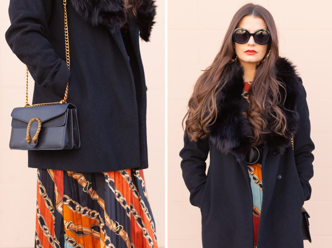 Winter 2019 Lookbook | In Chains: How to Style Midi Dresses for Winter | How to Style Chain Print | Brunette Girl wearing a chain print midi dress, a black wool coat with vintage fox fur collar, satin boots, black oval sunglasses and a black Gucci Dionysus Small Shoulder Bag | Bohemian Winter Style Ideas | Pantone Spring Summer 2019 Fashion Ideas | Winter Evening Outfit Ideas | Calgary, Alberta, Canada Fashion & Lifestyle Blogger // JustineCelina.com