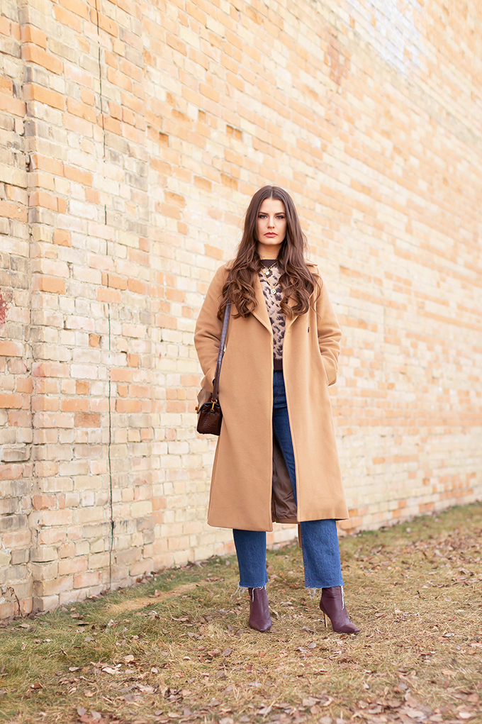 Winter 2019 Lookbook | Cozy Chic: My Go-To Casual Winter Outfit for Cold Weather | Aritzia Babaton Robbie Wool Coat Long styled with Cropped, straight leg denim, Burgundy Leather Sock Boots and a croc-embossed crossbody bag  | Stylish Winter 2019 Outfit Ideas | Cool Girl Winter Outfit Ideas // Calgary, Alberta, Canada Fashion & Lifestyle Blogger // JustineCelina.com