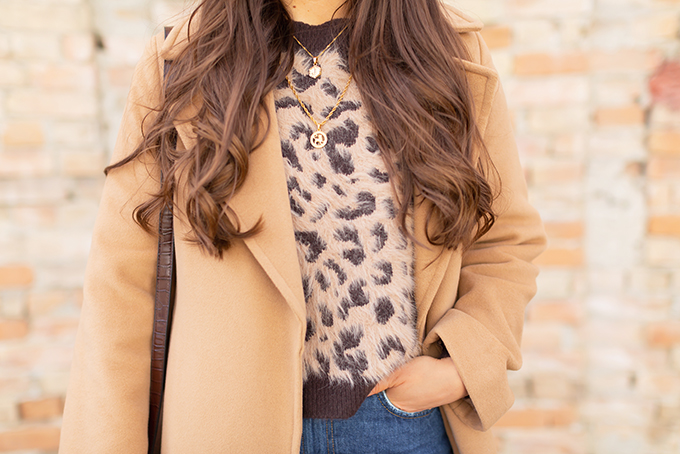 Winter 2019 Lookbook | Leopard Love: My Go-To Casual Winter Outfit for Cold Weather | Aritzia Babaton Robbie Wool Coat Long styled with a fuzzy leopard print sweater and House of Vi layered gold necklaces | Stylish Winter 2019 Outfit Ideas | Cool Girl Winter Outfit Ideas // Calgary, Alberta, Canada Fashion & Lifestyle Blogger // JustineCelina.com