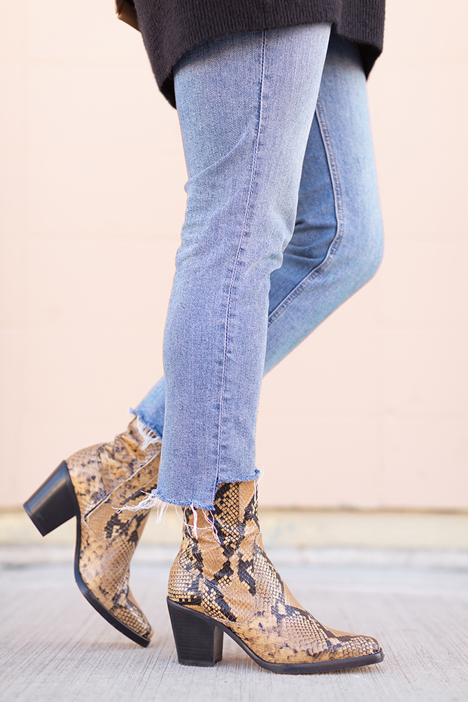 Winter 2019 Lookbook | Modern Wester: How to Style Snakeskin Ankle Boots for Winter | Western Snakeskin Ankle Boots Styled With Cropped, Stem Hem Jeans and a Black Sweater | Bohemian Winter Style Ideas | How to Wear the Western Trend 2019 | Calgary, Alberta, Canada Fashion & Lifestyle Blogger // JustineCelina.com