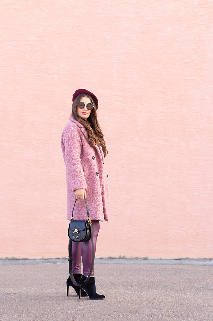 Raspberry Beret: My Favourite Warm, Comfortable Outfit Formula | Topshop Blush Teddy Coat Styled with a Wool Raspberry Beret, H&M burgundy sweater, Burgundy Joe Fresh Leather Leggings, Velvet Ankle Booties and the Artisan Anything Lara Leather Crossbody In Black (Amazing Chloe Tess Dupe!)  | Stylish Winter 2019 Outfit Ideas | Valentine's Day Outfit Ideas for Cool Climates // Calgary, Alberta, Canada Fashion & Lifestyle Blogger // JustineCelina.com