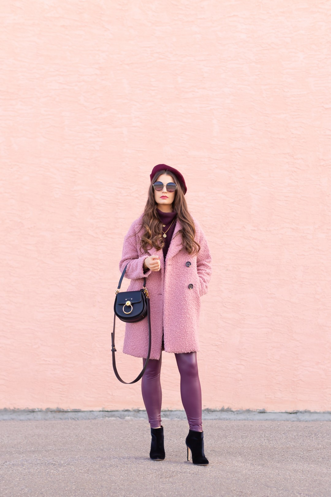 Raspberry Beret: My Favourite Warm, Comfortable Outfit Formula   Topshop Blush Teddy Coat Styled with a Wool Raspberry Beret, H&M burgundy sweater, Burgundy Joe Fresh Leather Leggings, Velvet Ankle Booties and the Artisan Anything Lara Leather Crossbody In Black (Amazing Chloe Tess Dupe!)    Stylish Winter 2019 Outfit Ideas   Valentine's Day Outfit Ideas for Cool Climates // Calgary, Alberta, Canada Fashion & Lifestyle Blogger // JustineCelina.com