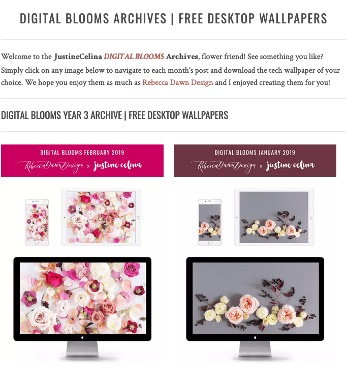 Browse the JustineCelina Digital Blooms archives | 3 years of free floral tech wallpapers // JustineCelina.com