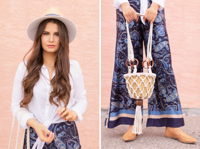 SPRING/SUMMER 2019 LOOKBOOK | Paisley Palazzo: How to Style Satin Paisley Palazzo Pants for Spring | Palazzo Pant Outfit Ideas Spring 2019 | pring Summer Vacation Outfit Ideas | Brunette woman wearing a Blue Paisley Palazzo Pants, a white knotted linen shirt, camel leather pointed toe flats and a Zara macrame bucket bag | How to Wear palazzo pants for spring 2019 | Top Spring/Summer 2019 Trends and how to wear them | Calgary Fashion & Lifestyle Blogger // JustineCelina.com