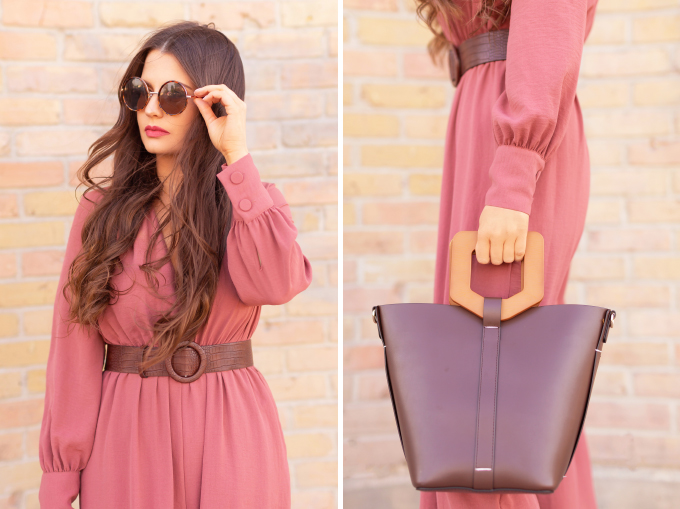 SPRING/SUMMER 2019 LOOKBOOK | Rosy Outlook: How to Style a Long Sleeve Mauve Jumpsuit for Spring | Jumpsuit Outfit Ideas Spring 2019 | How to Style a Jumpsuit for the Office | Brunette woman wearing a Long Sleeve Mauve Jumpsuit with a Brown Croc Embossed Bet styled, Zara Brown LEATHER MULES WITH GEOMETRIC HEELS and a Brown ZARA Wood Handled Structured Shopper | Top Spring/Summer 2019 Trends and how to wear them | Calgary Fashion & Creative Lifestyle Blogger // JustineCelina.com