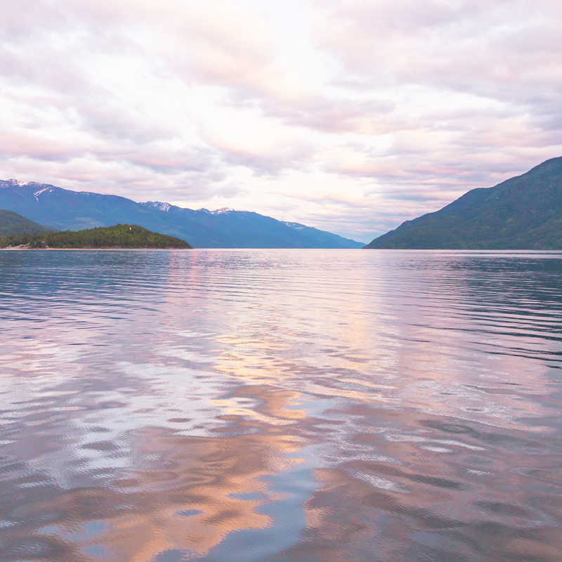 May 2019 Soundtrack | Kootenay Lake at Sunset | View from the Kootenay Bay Ferry at Sunset // JustineCelina.com