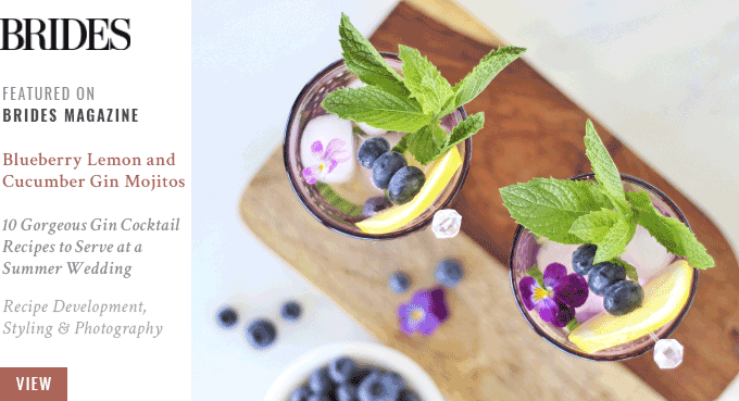 JustineCelina's Blueberry Lemon and Cucumber Gin Mojito's Featured in Brides Magazine // JustineCelina.com