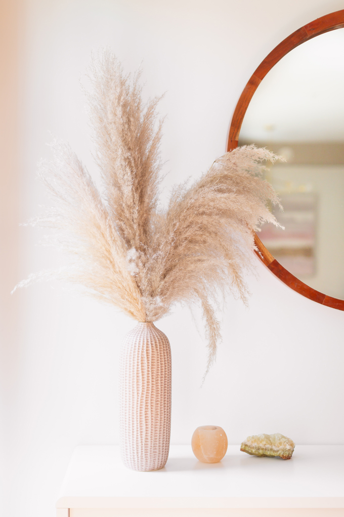 MidSummer Space Refresh Update | Pampas Grass Decor | A Bohemian, Mid-Century Modern Living Room featuring Pampas Grass Dried Decor | Pampas Grass Care and Conditioning | How to Stop Pampas Grass from Shedding | Pampas Grass Decor 2019 | Where to Buy Pampas Grass in Canada | Where to Buy Pampas Grass in Calgary | Dried Pampas Grass Arrangement Ideas | Bohemian, Mid Century Modern Decor | Calgary Lifestyle Blogger // JustineCelina.com