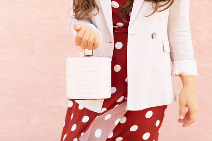 Pattern Play: Polka Dots | How to Style Polka Dots for the Office | How to Style Polka Dots into Fall | The Best Dresses for Work | Summer/Fall 2019 Professional Outfit Ideas | Brunette woman wearing a brown polka dot wrap dress, TopShop Oatmeal linen blazer, pink croc-embossed bracelet bag, and white, square toed scrappy sandals | Top Summer to Fall 2019 Transitional Trends | Calgary Fashion Blogger // JustineCelina.com