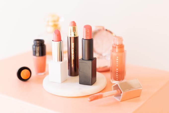 My Top 5 Everyday Lip Colours | JustineCelina's most worn lipsticks | JustineCelina's favourite lipsticks | The best My Lips But Better Lipsticks | Beauty Blogger's Favourite Lipsticks | NARS Audacious Lipstick in Brigitte | Lancôme Matte Shaker High Pigment Liquid Lipstick in Nudevolution | FENTY BEAUTY by Rihanna Gloss Bomb Universal Lip Luminizer in Fenty Glow | Clove + Hallow Lip Crème in Ballerina Slippers | Hourglass GIRL Lip Stylo Dreamer | Calgary Beauty Blogger // JustineCelina.com