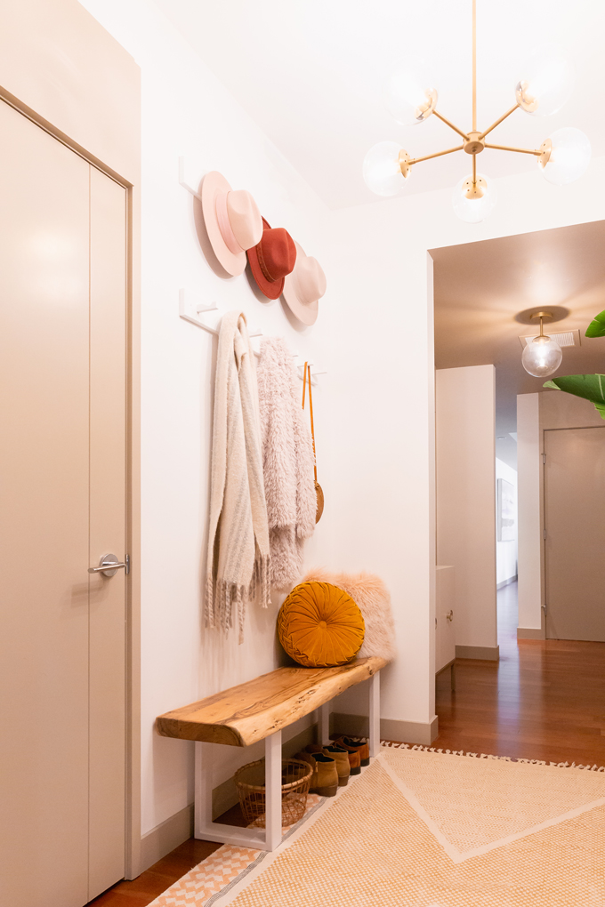 Space Refresh: Entrance Way Reveal in Partnership with Mobilia Canada | A Bohemian, Mid-Century Modern Apartment Entrance Way | Justine Celina Maguire's Home | 2019 Home Decor Trends | Behr Ultra Pure White | Mobilia Aly Velji Modern India Collection Review | Bohemian, Mid Century Modern Decor | IKEA KUBBIS Rack with 7 hooks, White | Calgary Lifestyle, Interior Design and Home Decor Blogger // JustineCelina.com