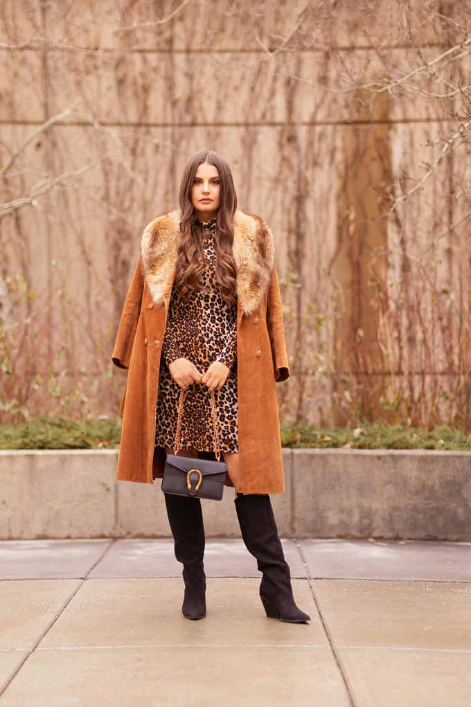 Autumn 2019 Lookbook: Vintage Viven | Top Fall / Winter 2019 Trends | Top Autumn 2019 Trends and How to Wear Them | Brunette woman wearing a vintage cognac suede snakeskin coat with fox fur collar, leopard print sweater dress, black knee high boots, black Gucci Dionysus bag and tortoise cat eye sunglasses | Vintage Inspired Fall / Winter 2019 Outfit Ideas | How to Style a Vintage Coat for fall / winter 2019 | How to style knee high boots | Top Calgary Fashion Blogger // JustineCelina.com