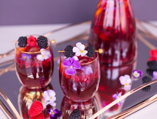 Violette Noir Berry Sangria | The Best Berry Sangria Recipe | Pinot Noir Sangria | Chambord Sangria Recipe | Red Sangria with Crème de Violette | Sophisticated Red Wine Sangria | The Best Berry Sangria for the holidays | Holiday Red Wine Sangria | Winter Berry Sangria Recipe | San Pellegrino Sangria | Black Raspberry Liqueur Sangria | Raspberry Sangria | Blackberry Sangria | Healthy No Added Sugar Sangria // JustineCelina.com
