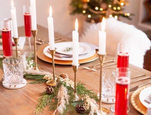 JustineCelina December 2019 Soundtrack + Bonus 2019 Soundtrack | Easy Holiday Entertaining Ideas | Chill Winter Playlist | Chill Holiday Playlist | Relaxing Winter Playlist | Music for Entertaining Holiday Cocktail Party | Easy Christmas Party Ideas | Simple Mid Century Modern Holiday Dinner Party | JustineCelina's Mid Century Modern Bohemian Dining Room | Simple Festive Tablescape with Winter Greenery, Pampas Grass, Candles and Champagne | Calgary Lifestyle Blogger // JustineCelina.com
