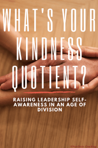 """Blog Post Cover Art: Two hands holding another in sympathy with blog overlay text """"What's Your Kindness Quotient?"""""""