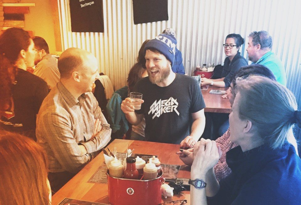 A photo from the launch of the MegaMaker burrito at Station BBQ