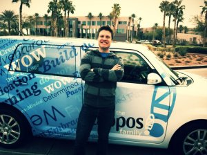 Justin getting dropped off by Zappos shuttle