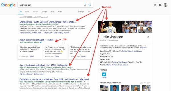 Justin Jackson, from MegaMaker, search results on Google