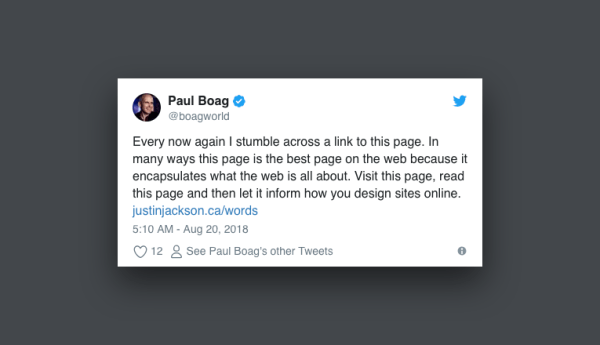 "Paul Boag tweet: ""This is the best page on the web."""