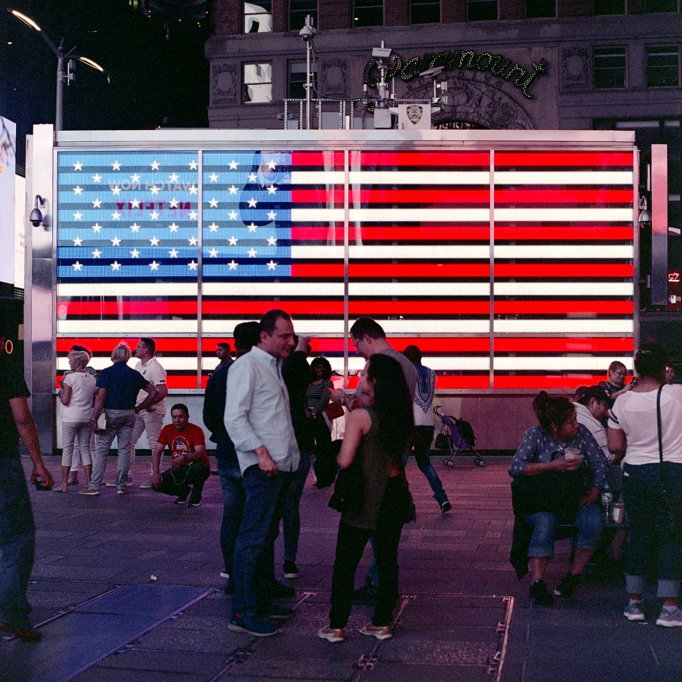 The LED US flag in Times Square