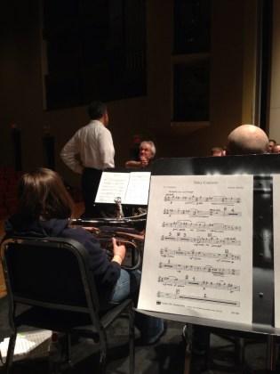 The Atlantic Brass Band rehearsal Martin Ellerby's Tuba Concerto with soloist, James Gourlay.
