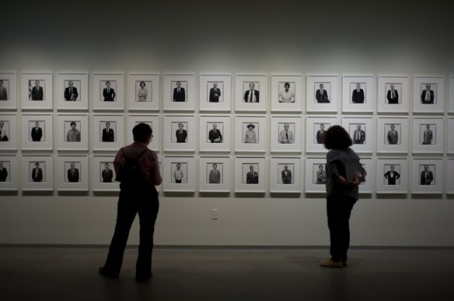 A wall of Richard Avedon portraits at Pier 24 Photography. This was the featured artist with prints from all across his career on display with many of his most iconic images available for viewing, some as larger-than-life prints.
