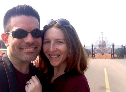 """The happy couple outside India's version of the """"White House"""""""