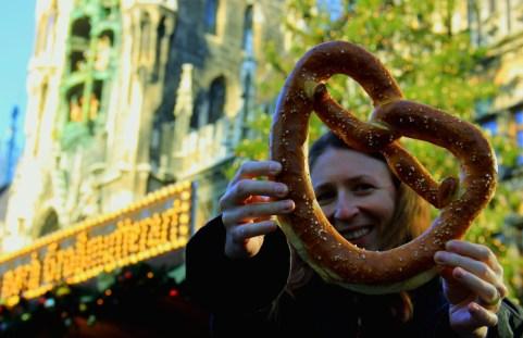 Jen with her Bavarian Pretzel